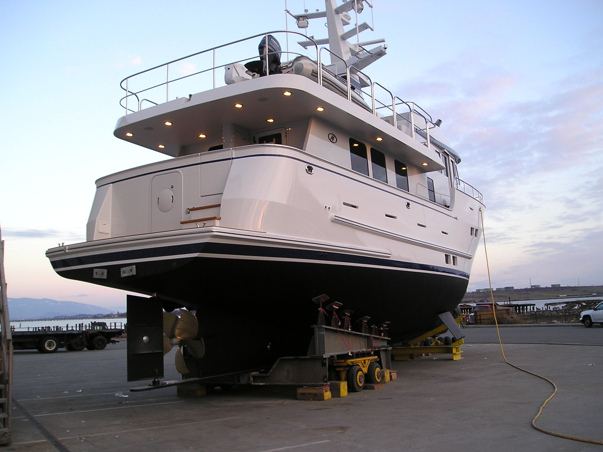 A beautiful Northern Expedition Yacht at home at her factory in Annacortes Washington. (I do get around!)