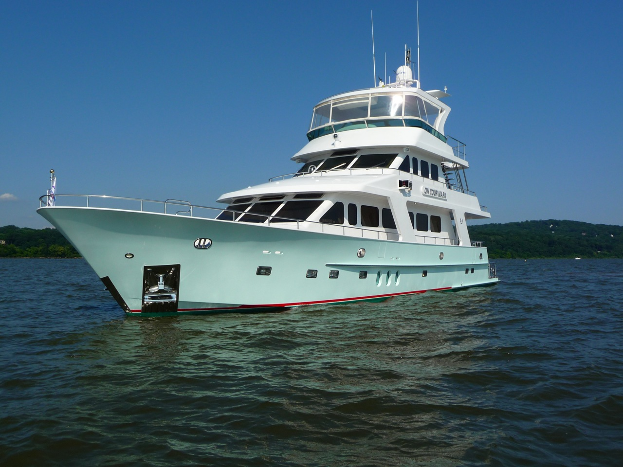 Before photo. Brand new never titled 90' pilothouse MY. Insurance company made him whole.