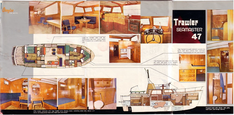 Original brochure drawings. This boat has twin beds aft, otherwise the same forward. ALL the dark old original wood has been replaced with a more modern, yet classic white surfaces.